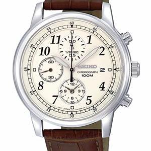Seiko Herren-Armbanduhr mit Lederarmband